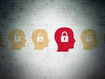 Conceito da finança: cabeça com ícone do cadeado em Digitas Foto de Stock
