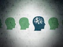 Conceito da finança: cabeça com ícone do símbolo da finança sobre Foto de Stock Royalty Free
