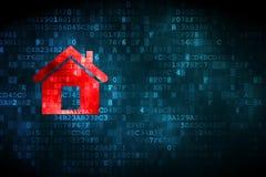 Conceito da finança: Casa no fundo digital imagens de stock royalty free