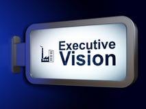 Conceito da finança: Construção executiva da visão e da indústria no fundo do quadro de avisos Imagens de Stock
