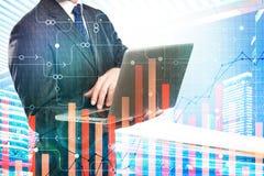 Conceito da finança, da inovação e da analítica imagem de stock