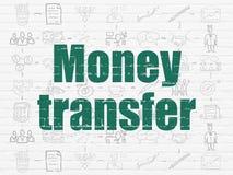 Conceito da finança: Transferência de dinheiro no fundo da parede Foto de Stock Royalty Free