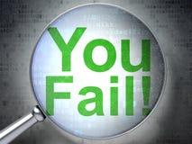 Conceito da finança: Você falha! com vidro ótico Foto de Stock Royalty Free