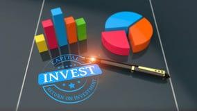 Conceito da finança da análise do retorno sobre o investimento Imagens de Stock