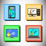 Conceito da formação em tecnologia em linha, grupo do ícone do vetor Imagem de Stock Royalty Free