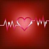 Conceito da forma do coração com pulsação ilustração stock