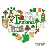 Conceito da forma do coração de símbolos irlandeses Fotografia de Stock Royalty Free