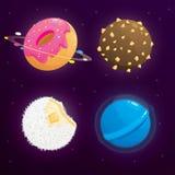 Conceito da galáxia do planeta do alimento Planetas da fantasia ajustados no fundo cósmico ilustração stock