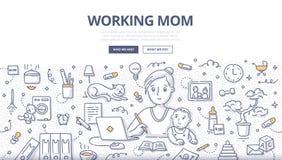 Conceito da garatuja da mamã de funcionamento ilustração stock