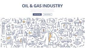 Conceito da garatuja do óleo & da indústria do gás ilustração do vetor