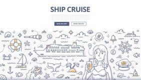 Conceito da garatuja do cruzeiro do navio ilustração stock