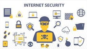 Conceito da garatuja da segurança do Internet de dados e do cyber em linha das soluções da proteção da rede informática ilustração do vetor
