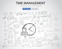 Conceito da gestão de tempo com estilo do projeto da garatuja ilustração royalty free