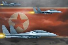 Conceito da greve das forças aéreas da Coreia do Norte de Democratic Peoples Republic of Korea Ataque dos planos de ar na repúbli Foto de Stock