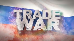 Conceito da guerra comercial Texto rachado na bandeira de R?ssia ilustra??o 3D ilustração stock