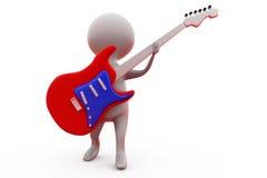 conceito da guitarra da rocha do homem 3d Imagem de Stock