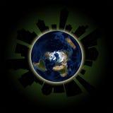 Conceito da hora da terra: Das luzes evento global para fora em Major Cities Foto de Stock
