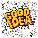 Conceito da ideia Boa ideia da mensagem no estilo do pop art ilustração do vetor