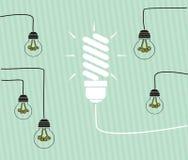 Conceito da ideia - bulbos incandescentes nos fios Imagem de Stock