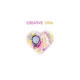Conceito da ideia da ampola e teste padrão criativos da impressão digital com ele Imagens de Stock