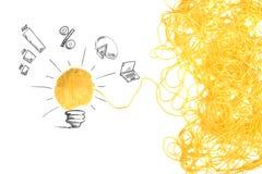 Conceito da ideia e da inovação com bola de lãs fotos de stock
