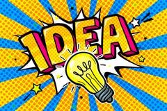 Conceito da ideia Ideia da mensagem e ampola no estilo do pop art no fundo azul ilustração do vetor