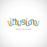 Conceito da ilusão ótica, molde abstrato do logotipo Imagens de Stock