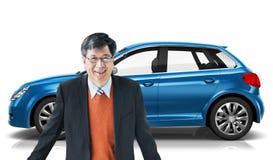Conceito da ilustração do transporte 3D do carro com porta traseira do veículo do carro Foto de Stock