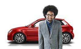 Conceito da ilustração do transporte 3D do carro com porta traseira do veículo do carro Fotografia de Stock