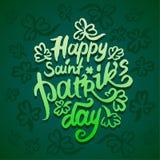 Conceito da ilustração do vetor do ícone feliz da rotulação da palavra da frase do dia de Patriks de Saint no fundo verde ilustração do vetor