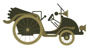 Conceito da ilustração do vetor do automóvel velho do vintage Colorido no fundo branco ilustração do vetor