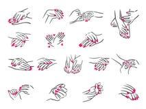 Conceito da ilustração do vetor das mãos com ícone do tratamento de mãos Preto no fundo branco ilustração stock