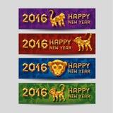 Conceito da ilustração do vetor do macaco poligonal do ouro Símbolo de 2016 ilustração stock