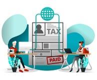 Conceito da ilustração do vetor para o elemento da Web, móbil, cartaz, bandeira Pagamento, relatório e reivindicação de imposto e ilustração royalty free