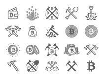 Conceito da ilustração do vetor do símbolo de moeda cripto do bitcoin do mineiro Preto no fundo branco ilustração stock