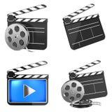 Conceito da indústria dos meios do cinema e do vídeo Fotografia de Stock Royalty Free