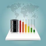 Conceito da indústria petroleira Preço do petróleo que cai para baixo gráfico com mundo miliampère Foto de Stock