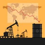 Conceito da indústria petroleira Preço do petróleo que cai para baixo sagacidade do gráfico e da carta Foto de Stock Royalty Free