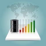 Conceito da indústria petroleira Preço do petróleo que cresce acima o gráfico com mapa do mundo Fotografia de Stock