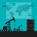 Conceito da indústria petroleira Preço do petróleo que cresce acima o gráfico e a carta com Fotografia de Stock Royalty Free