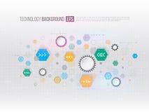 conceito da informática da Olá!-tecnologia no fundo cinzento Futu Fotos de Stock