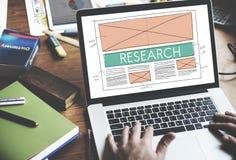 Conceito da informação da explicação da descoberta da pesquisa fotografia de stock
