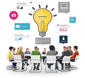 Conceito da inovação dos negócios Infographic da faculdade criadora da inspiração das ideias Fotografia de Stock Royalty Free