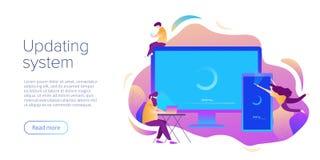 Conceito da instalação da atualização ou de software do sistema no projeto liso do vetor Ilustração criativa para a elevação do c ilustração do vetor