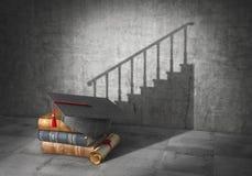 Conceito da instrução Perspectiva da carreira O livro com diploma moldou a sombra no formulário da escada da carreira 3d ilustração do vetor