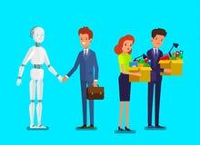 Conceito da inteligência artificial e da automatização de negócio Homem de negócios que está com robô ilustração royalty free