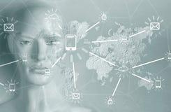 Conceito da inteligência artificial - Internet, rede, globalizati Imagens de Stock