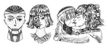 Conceito da inteligência artificial Robô e homem, beijo da mulher e do homem Pares do amor do conceito Replicant ou Android Mão ilustração do vetor