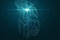 Conceito da intelig?ncia artificial e do Cyberspace ilustração do vetor