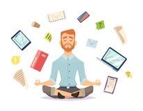 Conceito da ioga do negócio O zen do escritório relaxa a concentração na ilustração do vetor da prática da ioga da tabela do espa ilustração stock